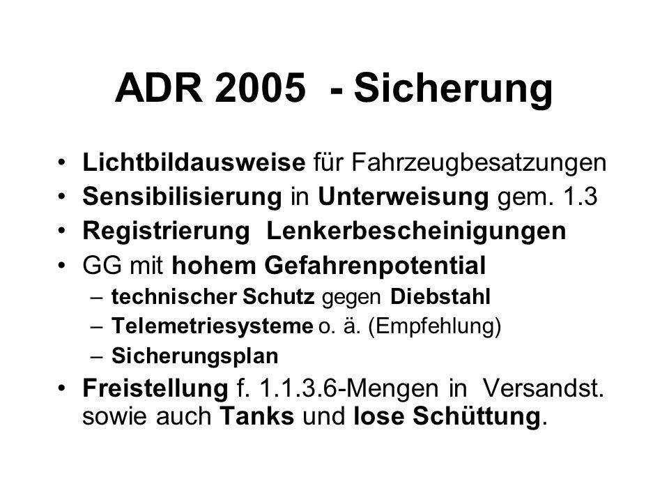 ADR 2005 - Sicherung Lichtbildausweise für Fahrzeugbesatzungen Sensibilisierung in Unterweisung gem.