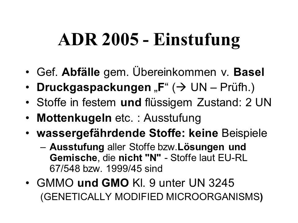 ADR 2005 - Einstufung Gef.Abfälle gem. Übereinkommen v.