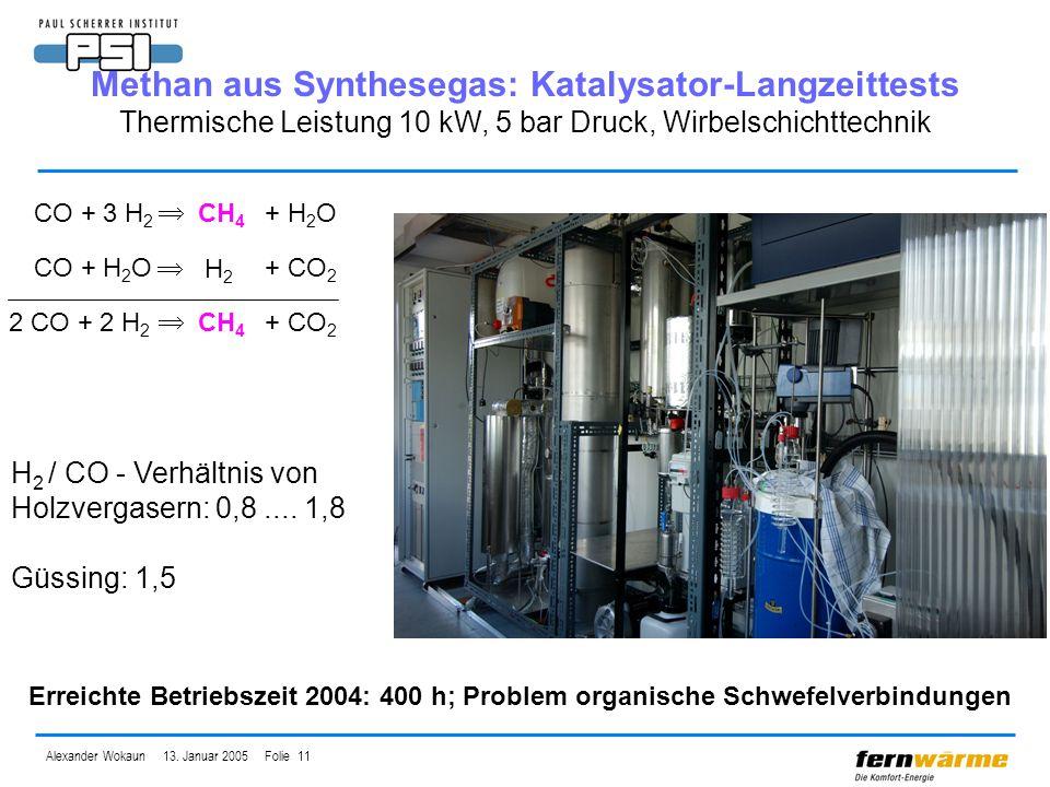 Alexander Wokaun 13. Januar 2005 Folie 11 CO + 3 H 2 CH 4 + H 2 O 2 CO + 2 H 2 CH 4 + CO 2 H 2 / CO - Verhältnis von Holzvergasern: 0,8.... 1,8 Güssin