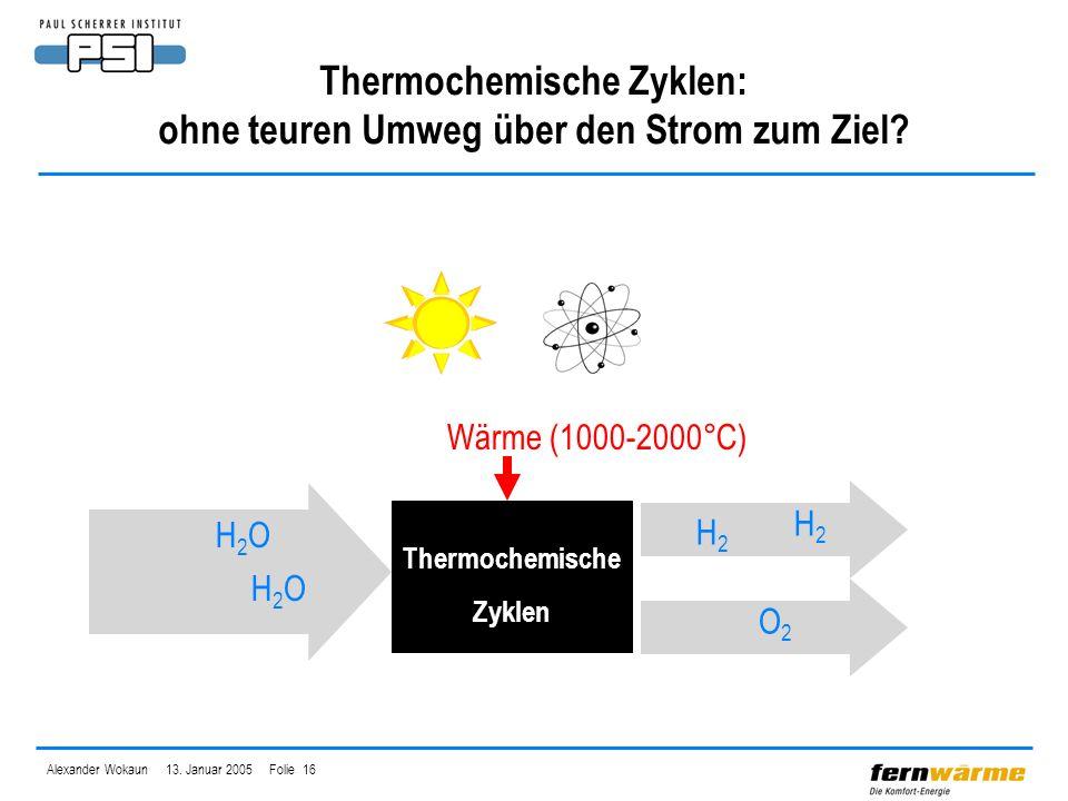 Alexander Wokaun 13. Januar 2005 Folie 16 Thermochemische Zyklen: ohne teuren Umweg über den Strom zum Ziel? H2OH2O H2OH2O Wärme (1000-2000°C) Thermoc