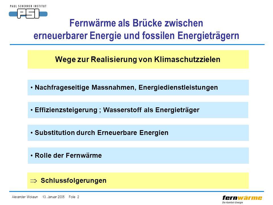 Alexander Wokaun 13. Januar 2005 Folie 2 Fernwärme als Brücke zwischen erneuerbarer Energie und fossilen Energieträgern Wege zur Realisierung von Klim