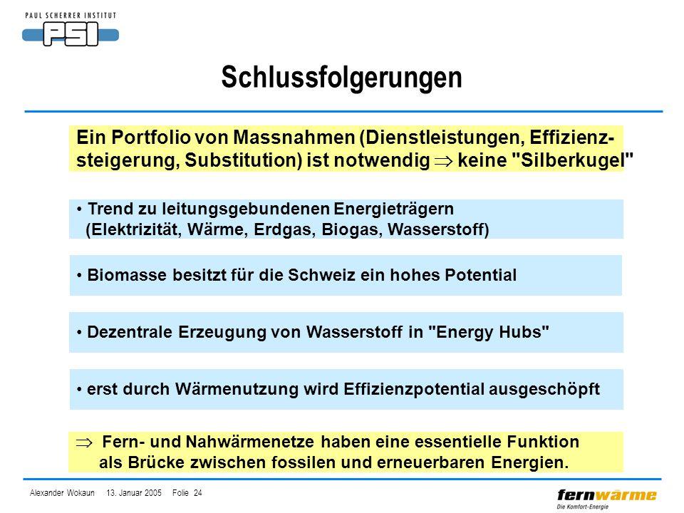 Alexander Wokaun 13. Januar 2005 Folie 24 Schlussfolgerungen Ein Portfolio von Massnahmen (Dienstleistungen, Effizienz- steigerung, Substitution) ist