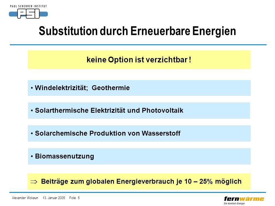 Alexander Wokaun 13. Januar 2005 Folie 5 Substitution durch Erneuerbare Energien keine Option ist verzichtbar ! Solarthermische Elektrizität und Photo
