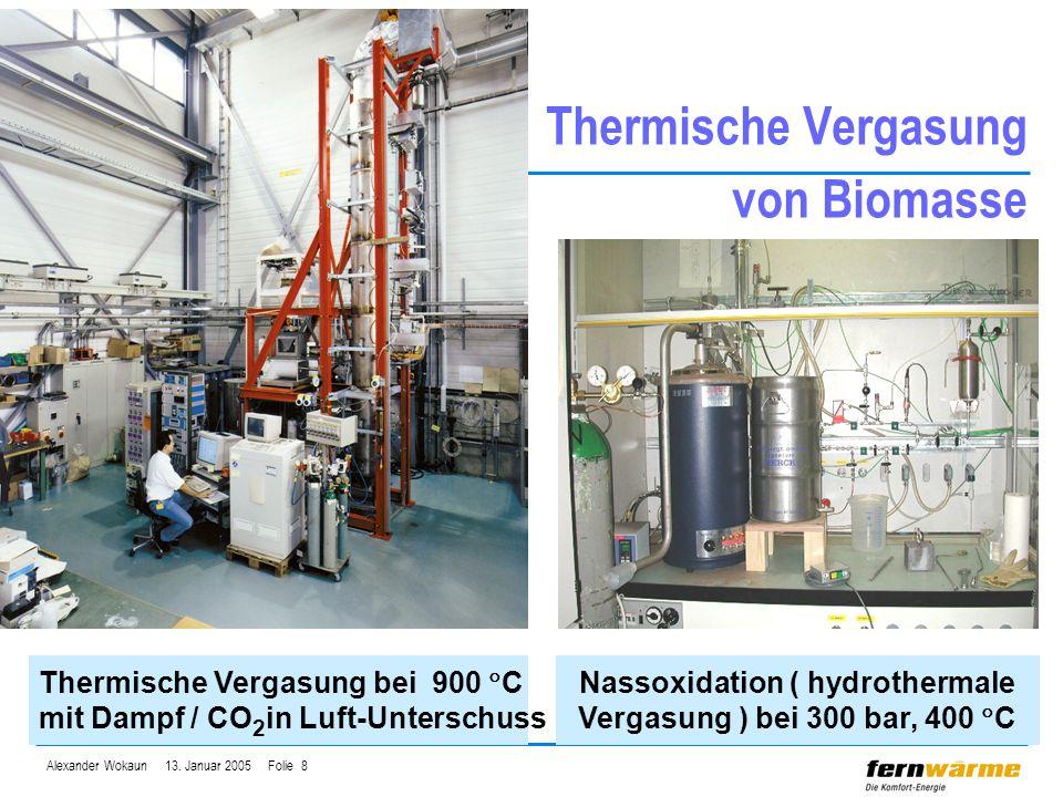 Alexander Wokaun 13. Januar 2005 Folie 8 Thermische Vergasung von Biomasse Nassoxidation ( hydrothermale Vergasung ) bei 300 bar, 400 C Thermische Ver