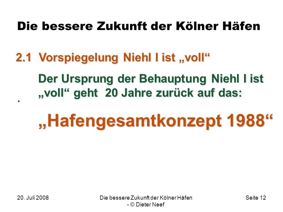 20. Juli 2008Die bessere Zukunft der Kölner Häfen - © Dieter Neef Seite 12 Die bessere Zukunft der Kölner Häfen. 2.1 Vorspiegelung Niehl I ist voll De