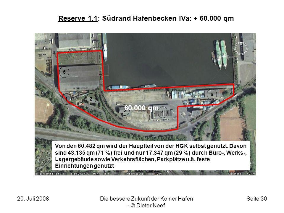 20. Juli 2008Die bessere Zukunft der Kölner Häfen - © Dieter Neef Seite 30 Reserve 1.1: Südrand Hafenbecken IVa: + 60.000 qm 12 3 4 5 6 60.000 qm Von