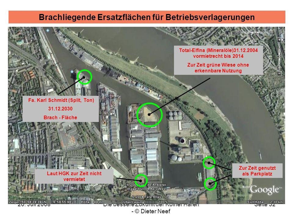 20. Juli 2008Die bessere Zukunft der Kölner Häfen - © Dieter Neef Seite 32 Brachliegende Ersatzflächen für Betriebsverlagerungen Fa. Karl Schmidt (Spl