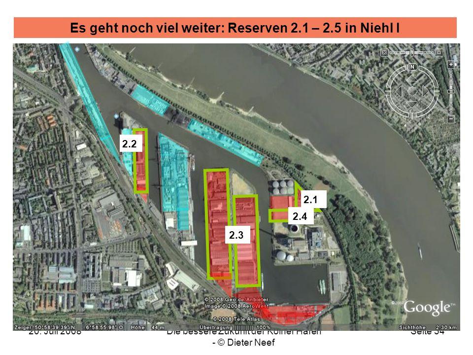 20. Juli 2008Die bessere Zukunft der Kölner Häfen - © Dieter Neef Seite 34 Es geht noch viel weiter: Reserven 2.1 – 2.5 in Niehl I 2.3 2.4 2.1 2.2