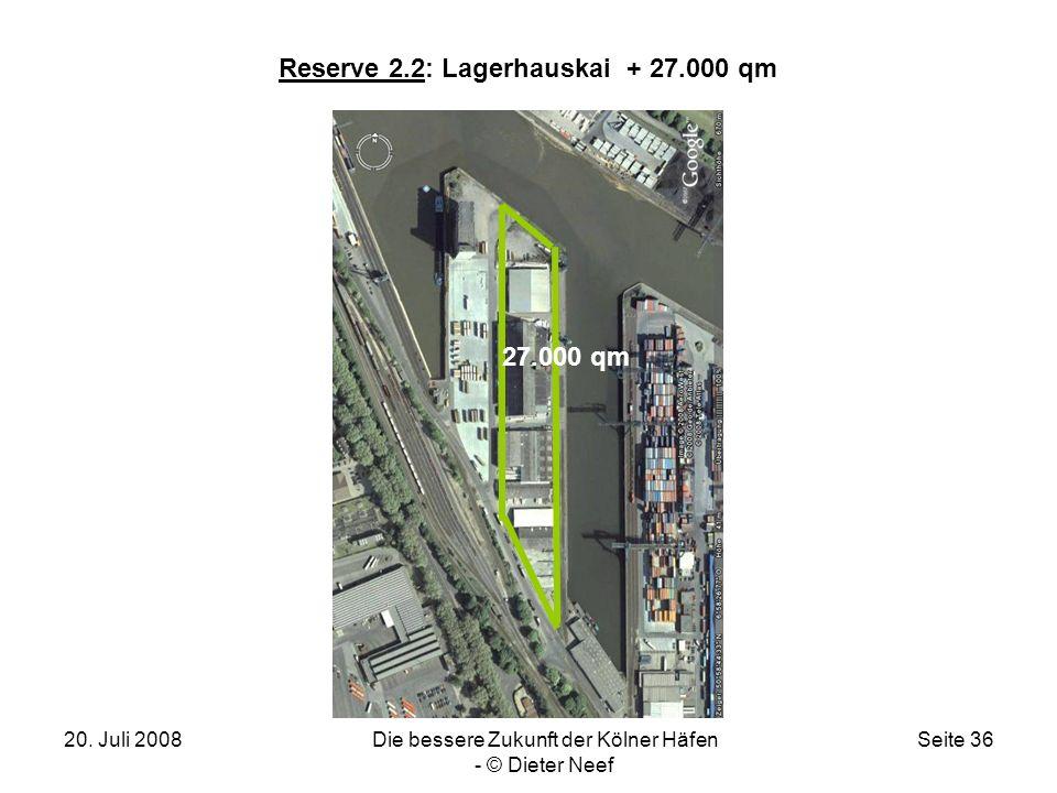 20. Juli 2008Die bessere Zukunft der Kölner Häfen - © Dieter Neef Seite 36 Reserve 2.2: Lagerhauskai + 27.000 qm 27.000 qm