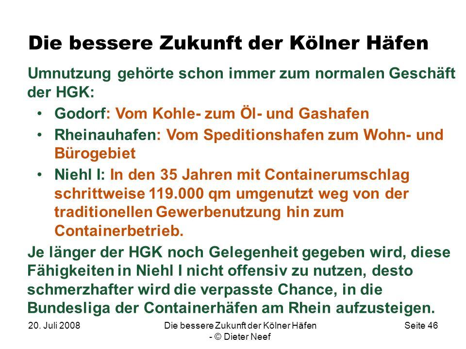 20. Juli 2008Die bessere Zukunft der Kölner Häfen - © Dieter Neef Seite 46 Die bessere Zukunft der Kölner Häfen Umnutzung gehörte schon immer zum norm