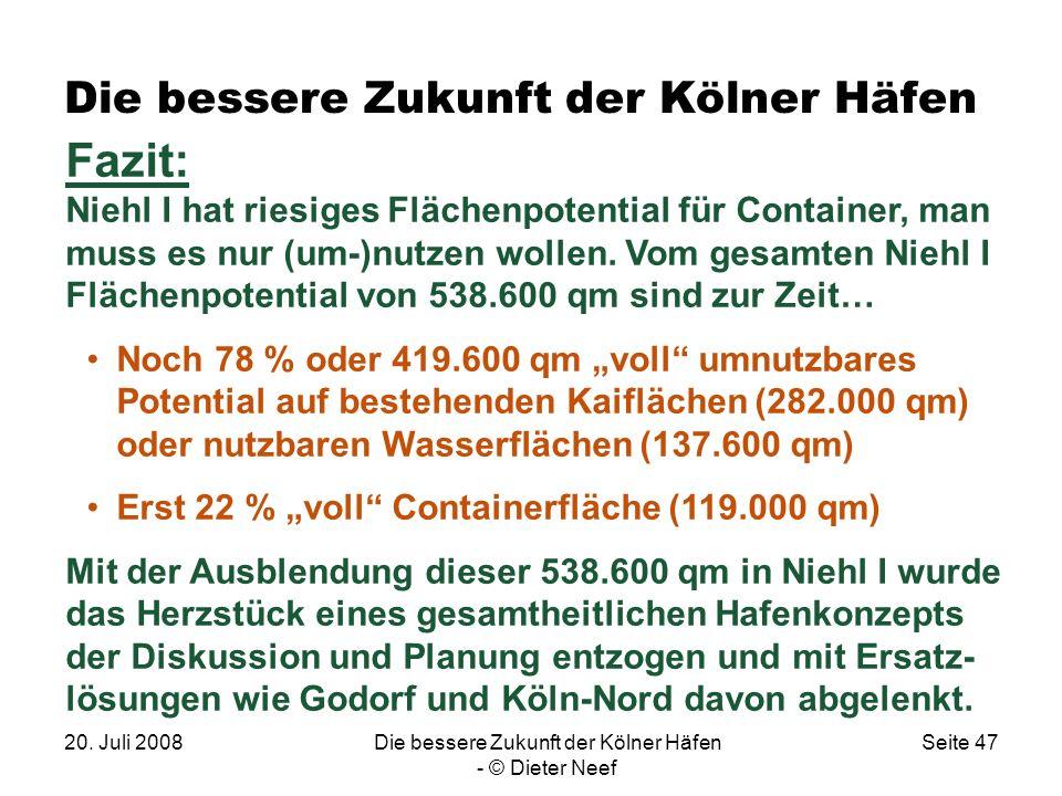 20. Juli 2008Die bessere Zukunft der Kölner Häfen - © Dieter Neef Seite 47 Die bessere Zukunft der Kölner Häfen Fazit: Niehl I hat riesiges Flächenpot