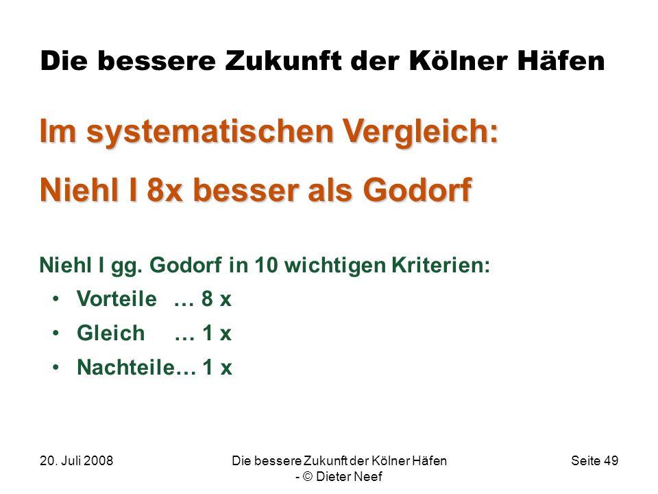 20. Juli 2008Die bessere Zukunft der Kölner Häfen - © Dieter Neef Seite 49 Die bessere Zukunft der Kölner Häfen Im systematischen Vergleich: Niehl I 8