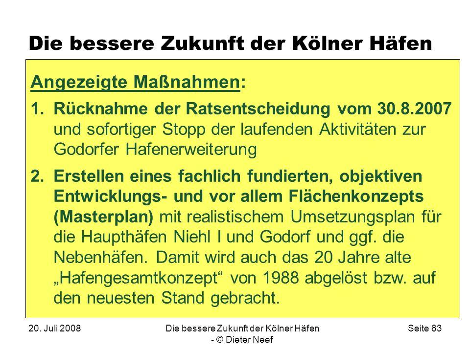 20. Juli 2008Die bessere Zukunft der Kölner Häfen - © Dieter Neef Seite 63 Die bessere Zukunft der Kölner Häfen Angezeigte Maßnahmen: 1.Rücknahme der