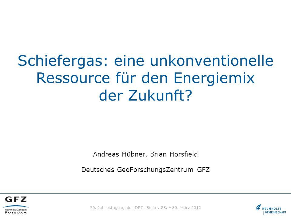 Schiefergas: eine unkonventionelle Ressource für den Energiemix der Zukunft? Andreas Hübner, Brian Horsfield Deutsches GeoForschungsZentrum GFZ 76. Ja