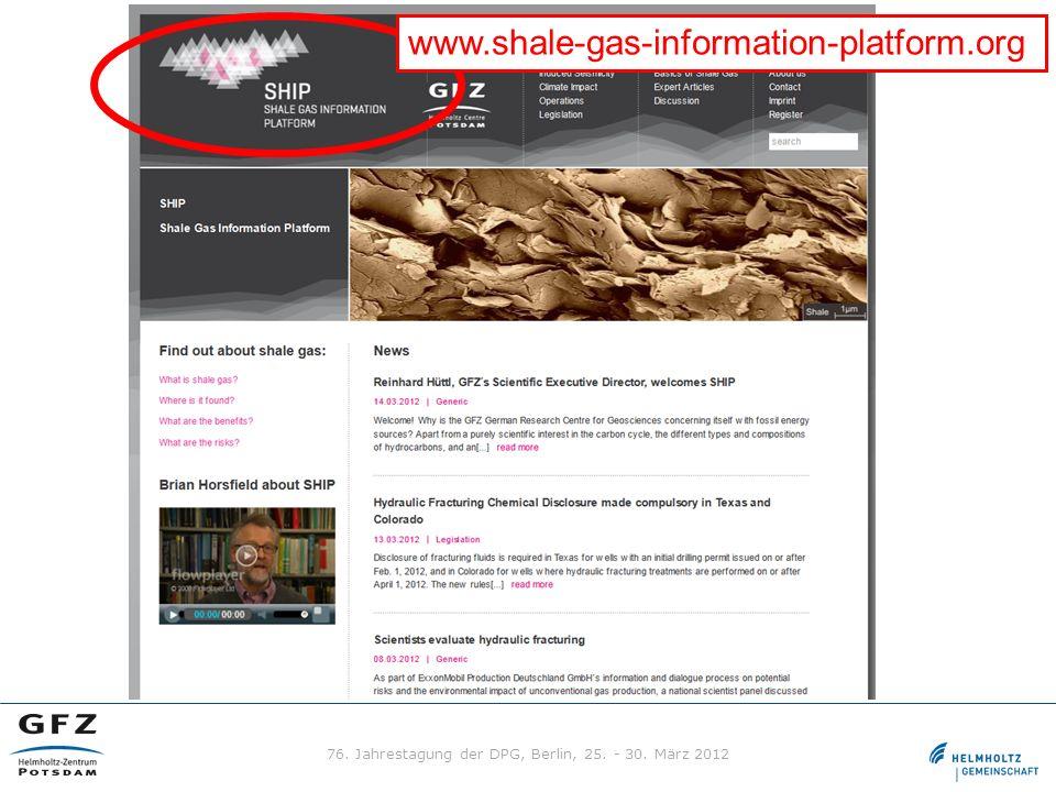 www.shale-gas-information-platform.org 76. Jahrestagung der DPG, Berlin, 25. - 30. März 2012