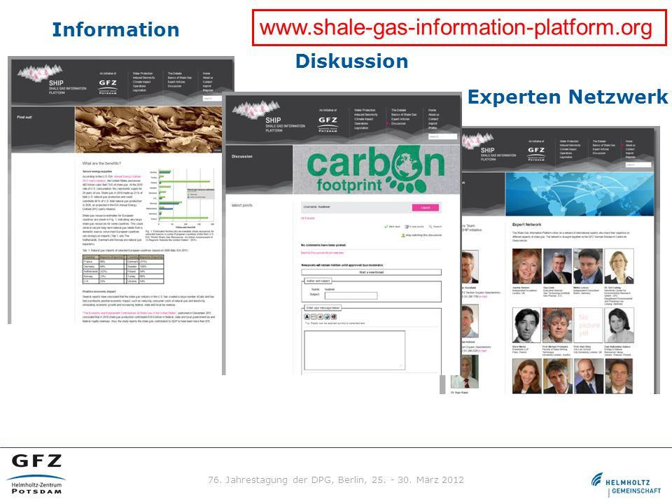 Information Diskussion Experten Netzwerk www.shale-gas-information-platform.org 76. Jahrestagung der DPG, Berlin, 25. - 30. März 2012