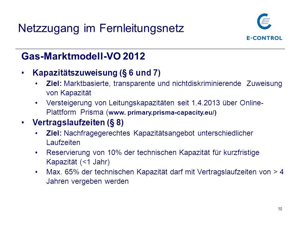 Netzzugang im Fernleitungsnetz Gas-Marktmodell-VO 2012 Kapazitätszuweisung (§ 6 und 7) Ziel: Marktbasierte, transparente und nichtdiskriminierende Zuw