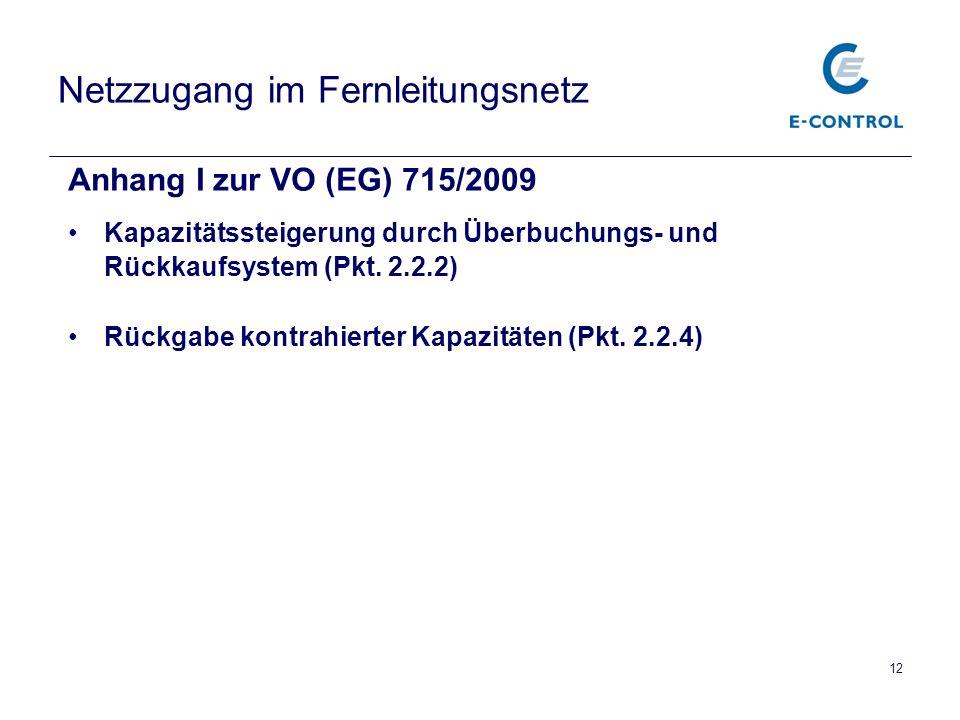 Netzzugang im Fernleitungsnetz Anhang I zur VO (EG) 715/2009 Kapazitätssteigerung durch Überbuchungs- und Rückkaufsystem (Pkt. 2.2.2) Rückgabe kontrah