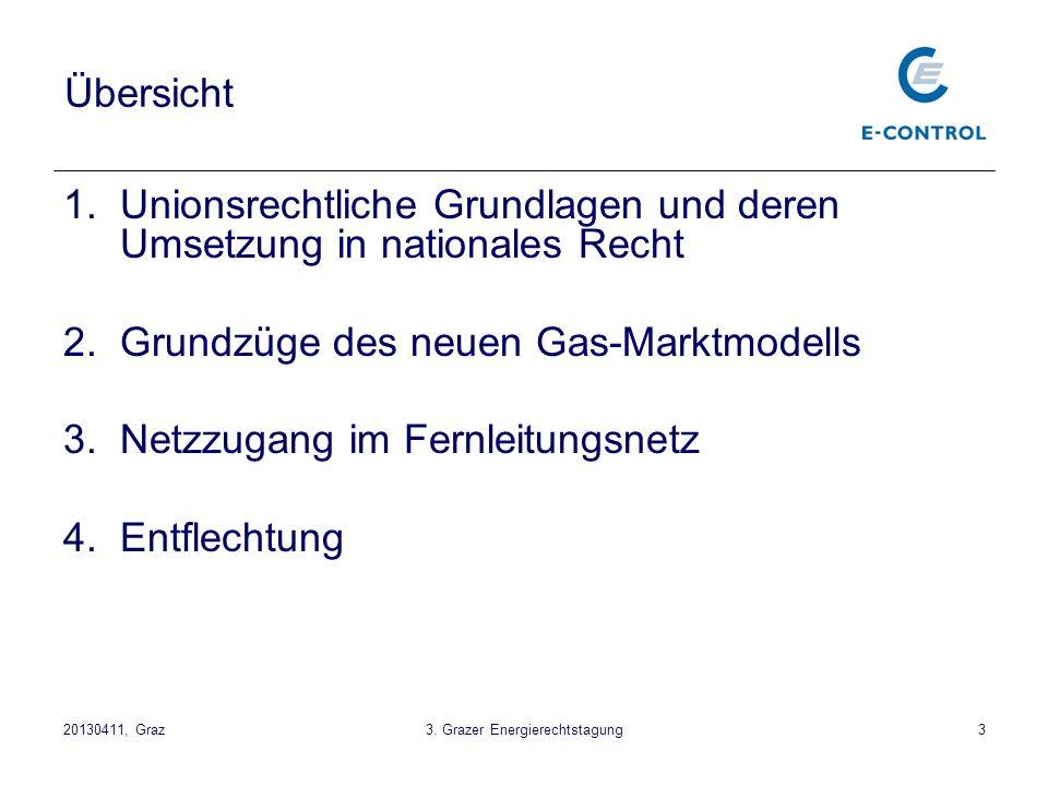 3 Übersicht 1.Unionsrechtliche Grundlagen und deren Umsetzung in nationales Recht 2.Grundzüge des neuen Gas-Marktmodells 3.Netzzugang im Fernleitungsn