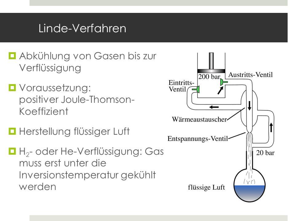 Linde-Verfahren Abkühlung von Gasen bis zur Verflüssigung Voraussetzung: positiver Joule-Thomson- Koeffizient Herstellung flüssiger Luft H 2 - oder He