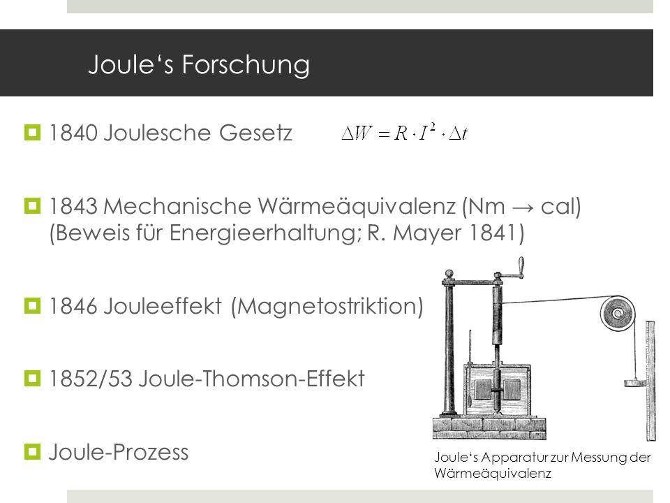 Joules Forschung 1840 Joulesche Gesetz 1843 Mechanische Wärmeäquivalenz (Nm cal) (Beweis für Energieerhaltung; R. Mayer 1841) 1846 Jouleeffekt (Magnet
