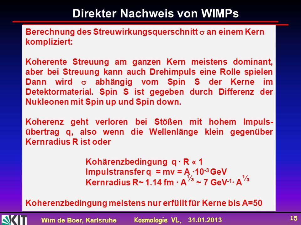 Wim de Boer, Karlsruhe Kosmologie VL, 31.01.2013 15 Direkter Nachweis von WIMPs Berechnung des Streuwirkungsquerschnitt an einem Kern kompliziert: Koherente Streuung am ganzen Kern meistens dominant, aber bei Streuung kann auch Drehimpuls eine Rolle spielen Dann wird abhängig vom Spin S der Kerne im Detektormaterial.