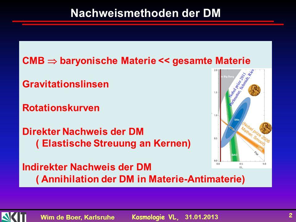 Wim de Boer, Karlsruhe Kosmologie VL, 31.01.2013 3 Gravitationslinsen ART: Die Ausbreitung von Licht ändert sich beim Durchgang durch ein Gravitationsfeld