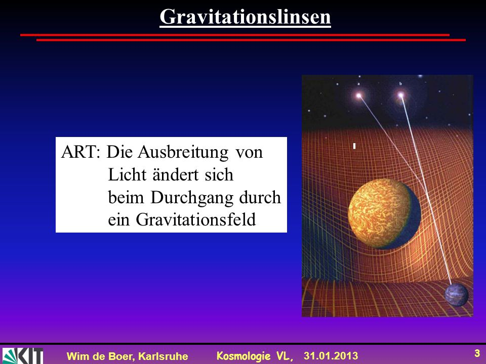 Wim de Boer, Karlsruhe Kosmologie VL, 31.01.2013 14 Direkter Nachweis von WIMPs Wir gehen davon aus, dass DM ein Neutralino oder WIMP ist.