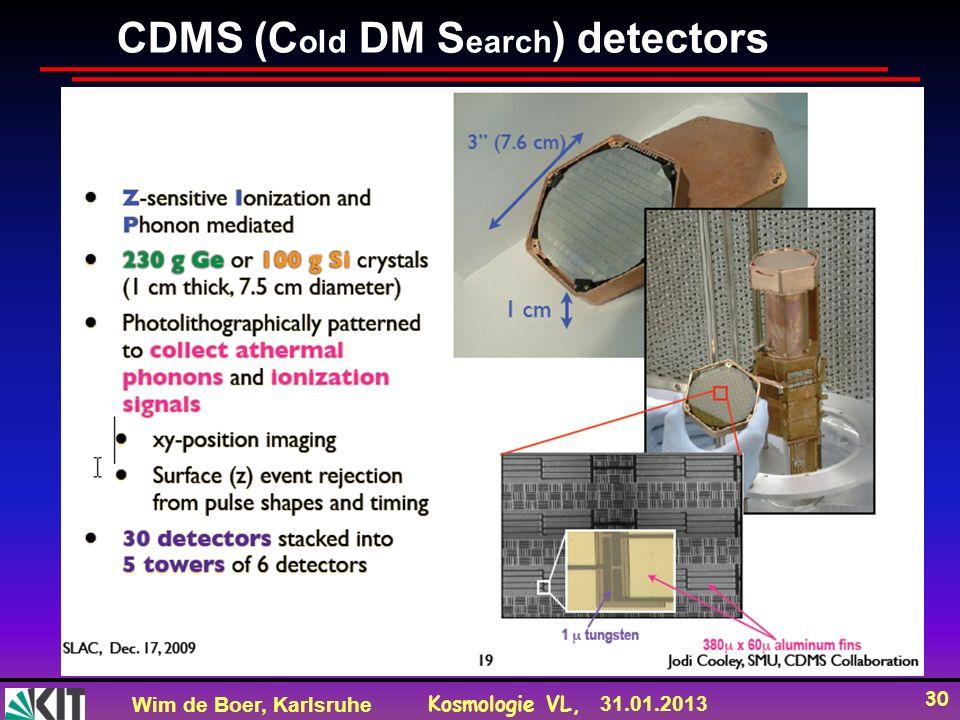 Wim de Boer, Karlsruhe Kosmologie VL, 31.01.2013 30 CDMS (C old DM S earch ) detectors