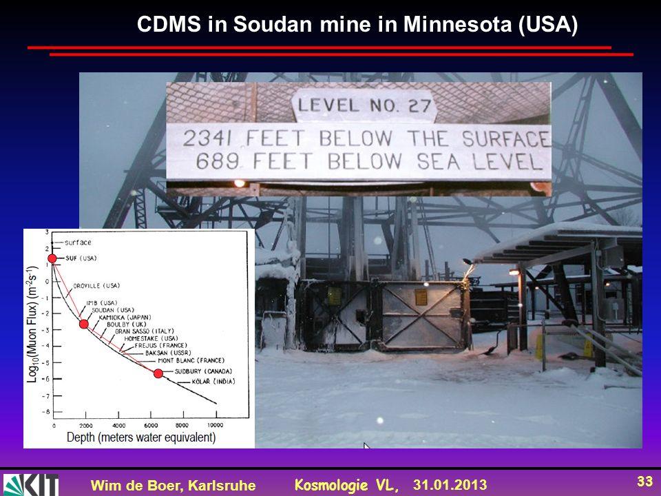 Wim de Boer, Karlsruhe Kosmologie VL, 31.01.2013 33 CDMS in Soudan mine in Minnesota (USA)