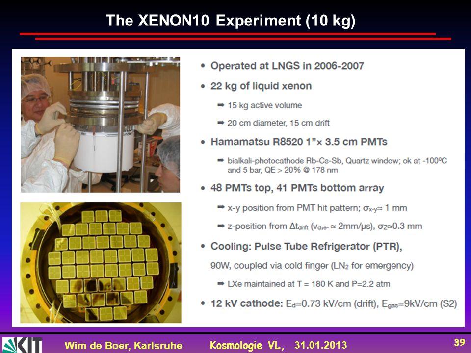 Wim de Boer, Karlsruhe Kosmologie VL, 31.01.2013 39 The XENON10 Experiment (10 kg)