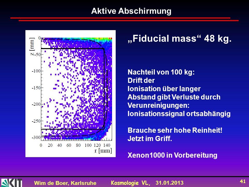 Wim de Boer, Karlsruhe Kosmologie VL, 31.01.2013 41 Aktive Abschirmung Fiducial mass 48 kg.