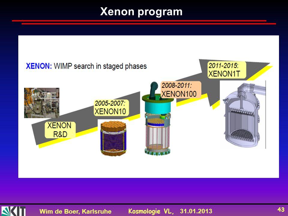 Wim de Boer, Karlsruhe Kosmologie VL, 31.01.2013 43 Xenon program