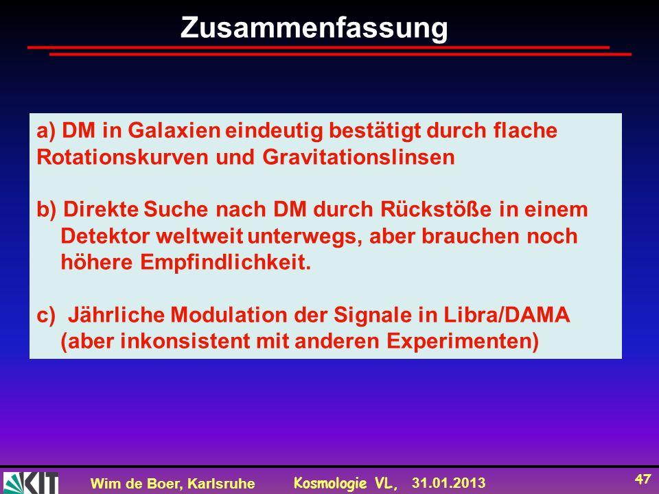 Wim de Boer, Karlsruhe Kosmologie VL, 31.01.2013 47 a) DM in Galaxien eindeutig bestätigt durch flache Rotationskurven und Gravitationslinsen b) Direkte Suche nach DM durch Rückstöße in einem Detektor weltweit unterwegs, aber brauchen noch höhere Empfindlichkeit.