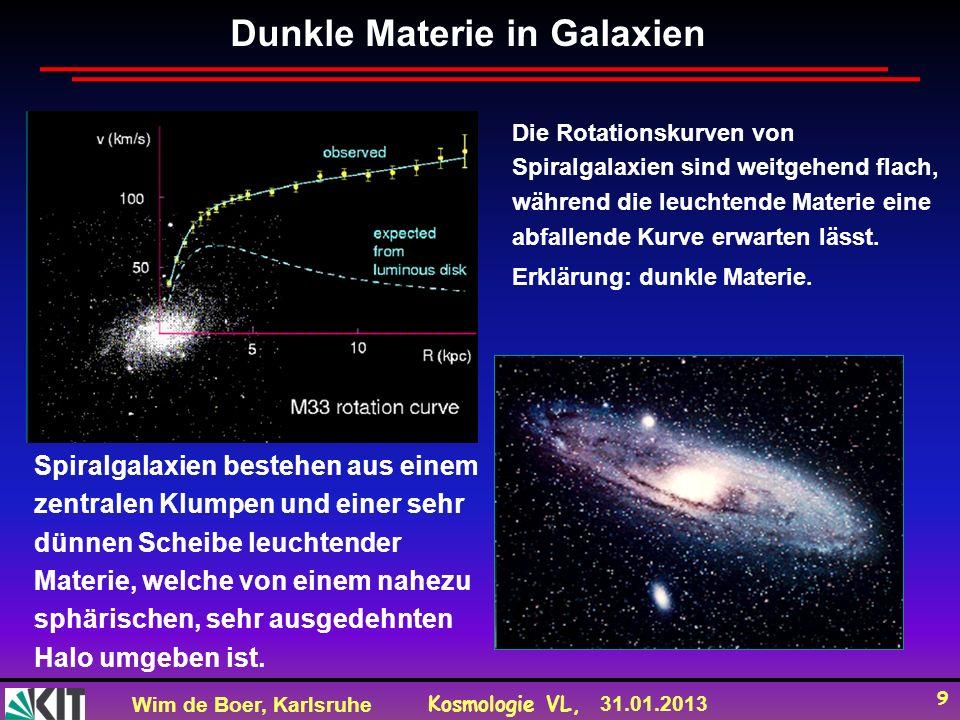 Wim de Boer, Karlsruhe Kosmologie VL, 31.01.2013 9 Dunkle Materie in Galaxien Die Rotationskurven von Spiralgalaxien sind weitgehend flach, während die leuchtende Materie eine abfallende Kurve erwarten lässt.