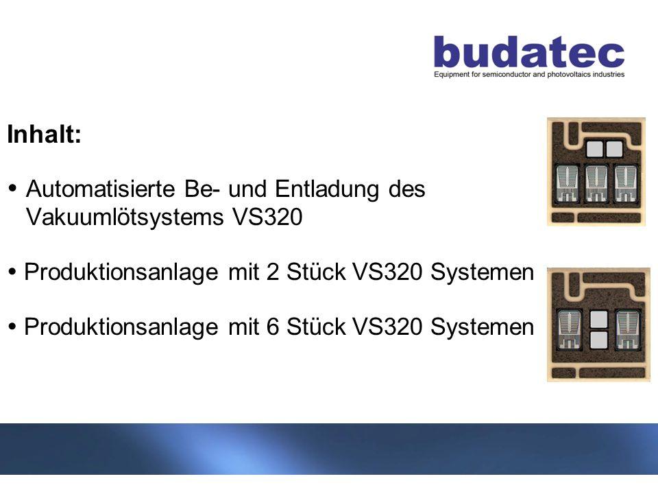 2 Stand 04-2013 Inhalt: Automatisierte Be- und Entladung des Vakuumlötsystems VS320 Produktionsanlage mit 2 Stück VS320 Systemen Produktionsanlage mit 6 Stück VS320 Systemen