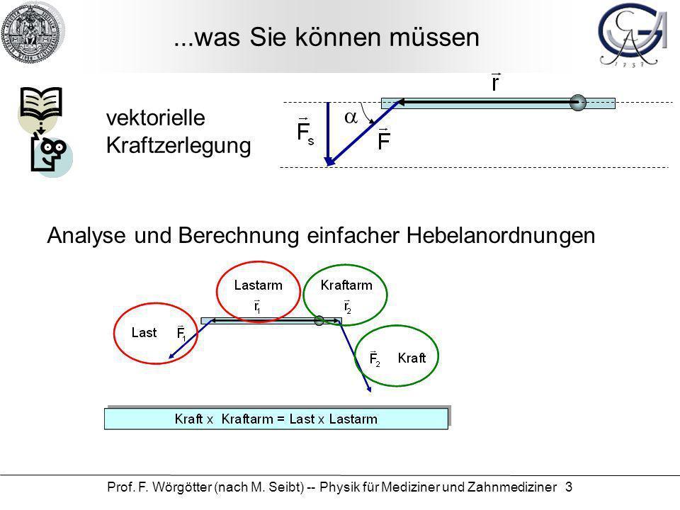 Prof. F. Wörgötter (nach M. Seibt) -- Physik für Mediziner und Zahnmediziner 3...was Sie können müssen vektorielle Kraftzerlegung Analyse und Berechnu