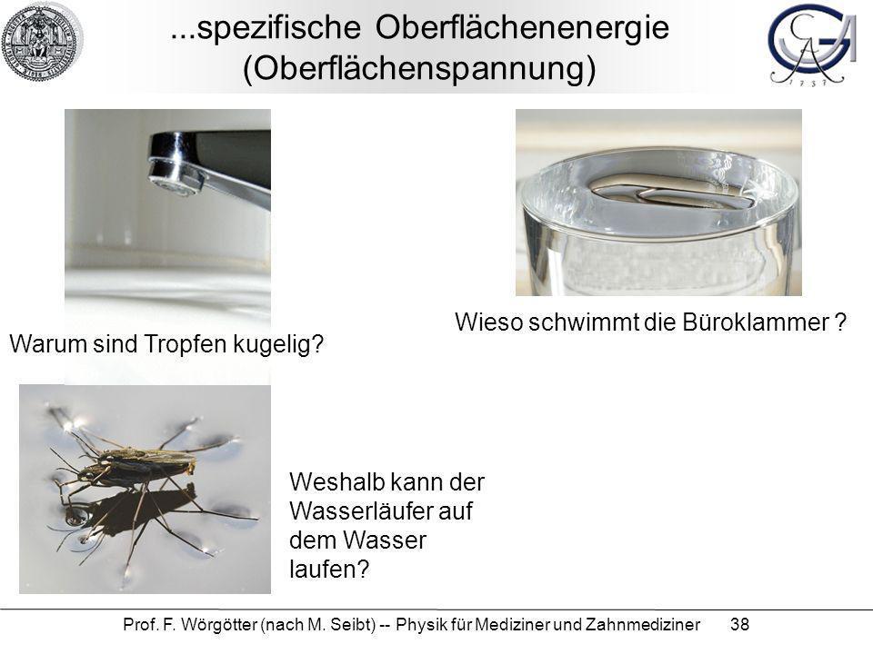 Prof. F. Wörgötter (nach M. Seibt) -- Physik für Mediziner und Zahnmediziner 38...spezifische Oberflächenenergie (Oberflächenspannung) Warum sind Trop
