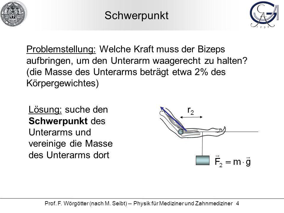 Prof. F. Wörgötter (nach M. Seibt) -- Physik für Mediziner und Zahnmediziner 4 Schwerpunkt Problemstellung: Welche Kraft muss der Bizeps aufbringen, u