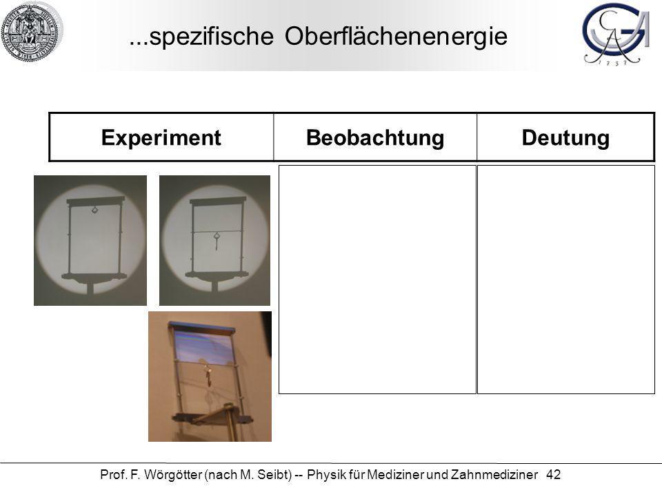Prof. F. Wörgötter (nach M. Seibt) -- Physik für Mediziner und Zahnmediziner 42...spezifische Oberflächenenergie ExperimentBeobachtungDeutung