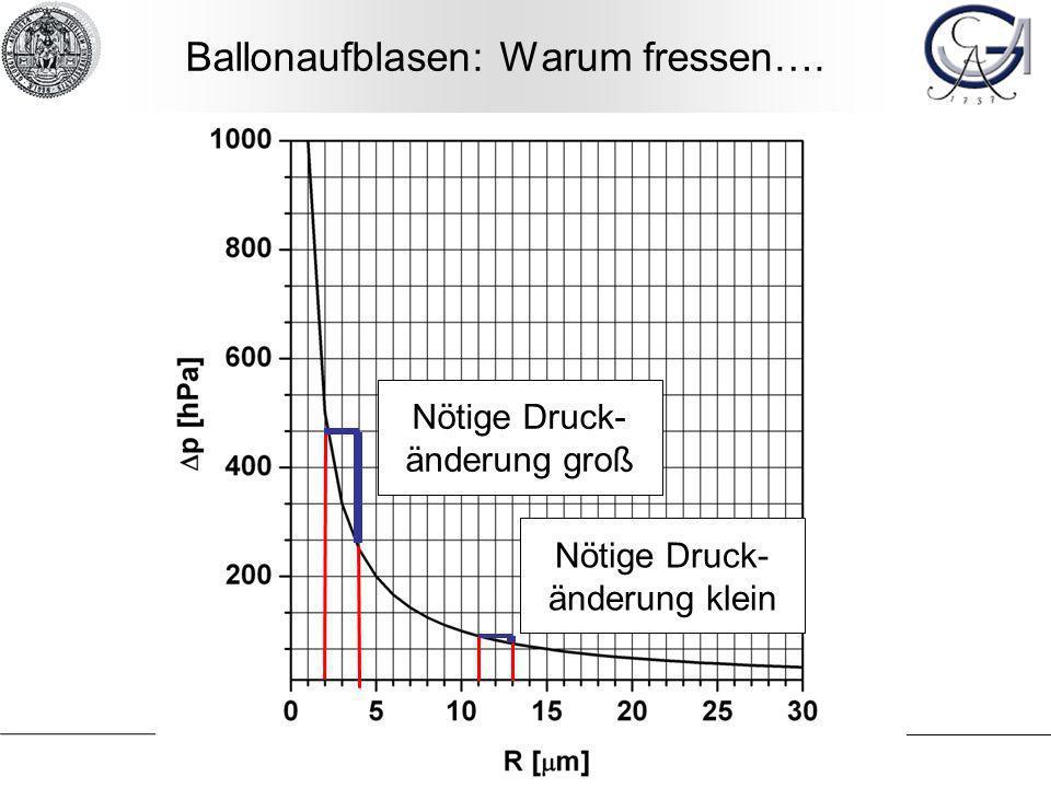 Nötige Druck- änderung groß Nötige Druck- änderung klein Ballonaufblasen: Warum fressen….