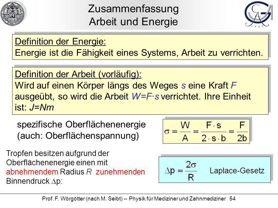 Prof. F. Wörgötter (nach M. Seibt) -- Physik für Mediziner und Zahnmediziner 54 Zusammenfassung Arbeit und Energie Definition der Energie: Energie ist