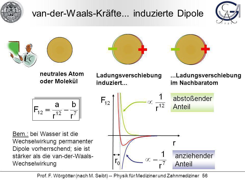 Prof. F. Wörgötter (nach M. Seibt) -- Physik für Mediziner und Zahnmediziner 56 van-der-Waals-Kräfte... induzierte Dipole neutrales Atom oder Molekül