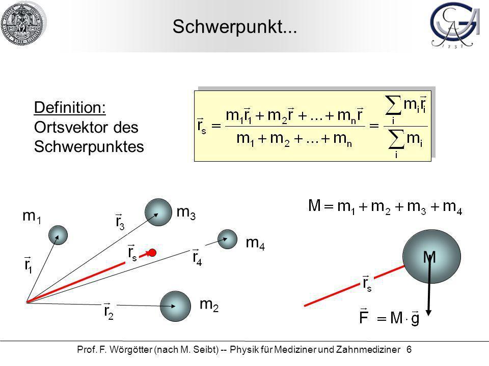 Prof. F. Wörgötter (nach M. Seibt) -- Physik für Mediziner und Zahnmediziner 6 Schwerpunkt... Definition: Ortsvektor des Schwerpunktes m1m1 m4m4 m3m3