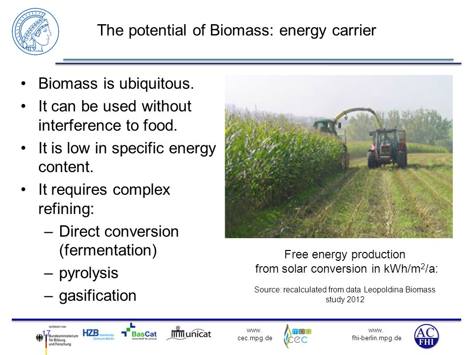www. fhi-berlin.mpg.de www. cec.mpg.de The potential of Biomass: energy carrier Biomass is ubiquitous. It can be used without interference to food. It