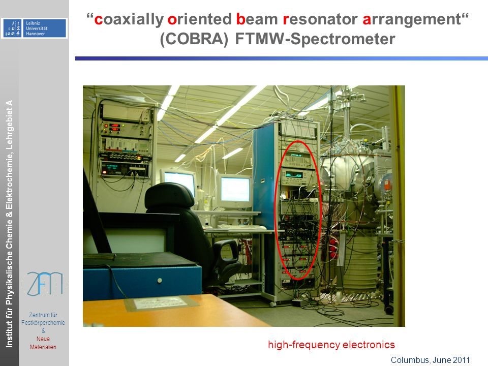 Institut für Physikalische Chemie & Elektrochemie, Lehrgebiet A Columbus, OH, June 2006.ppt Zentrum für Festkörperchemie & Neue Materialien Columbus, June 2011 coaxially oriented beam resonator arrangement (COBRA) FTMW-Spectrometer high-frequency electronics
