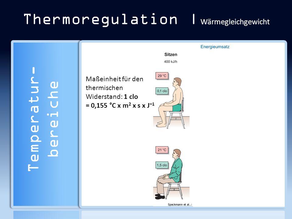Thermoregulation | Wärmegleichgewicht Temperatur- bereiche Maßeinheit für den thermischen Widerstand: 1 clo = 0,155 °C x m 2 x s x J –1