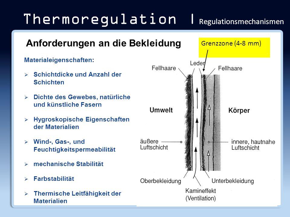 Thermoregulation | Regulationsmechanismen Materialeigenschaften: Schichtdicke und Anzahl der Schichten Dichte des Gewebes, natürliche und künstliche F