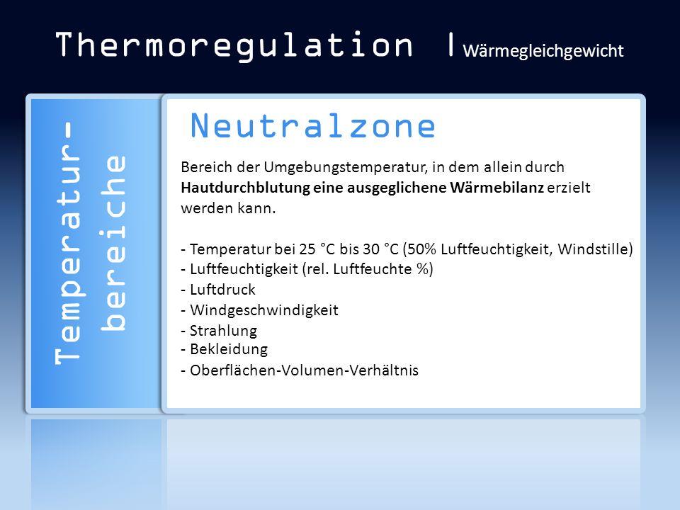 Thermoregulation | Wärmegleichgewicht Neutralzone Bereich der Umgebungstemperatur, in dem allein durch Hautdurchblutung eine ausgeglichene Wärmebilanz