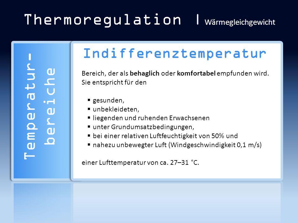 Thermoregulation | Wärmegleichgewicht Indifferenztemperatur Bereich, der als behaglich oder komfortabel empfunden wird. Sie entspricht für den gesunde
